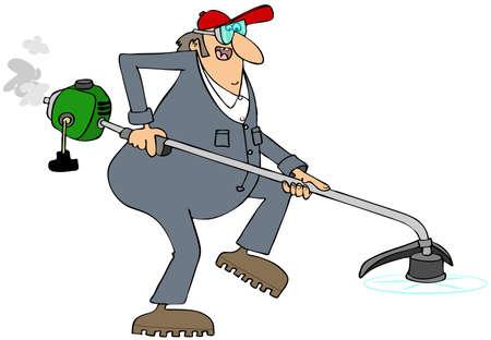 hombre con sombrero: Trabajador que usa una cortadora de hilo Foto de archivo