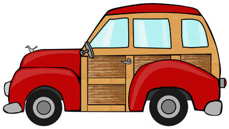 wagon wheel: Red woody station wagon