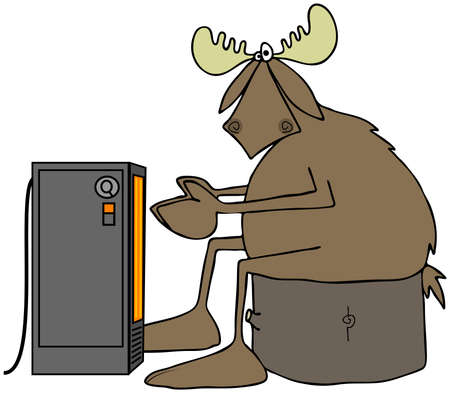 Cold moose warming by an electric heater Reklamní fotografie - 58219600