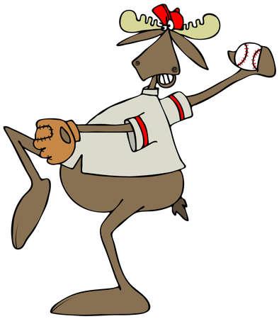 Moose baseball pitcher Stock Photo