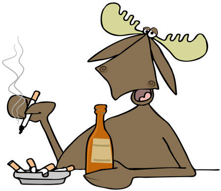 ashtray: Illustration of a bull moose sitting at a bar while drinking a beer and smoking a cigarette.