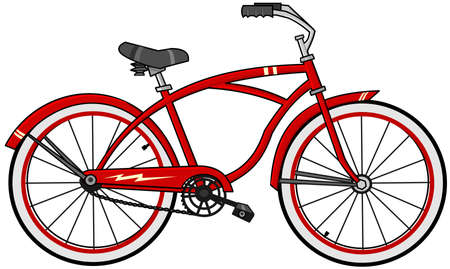 pedaling: Red cartoon bicycle