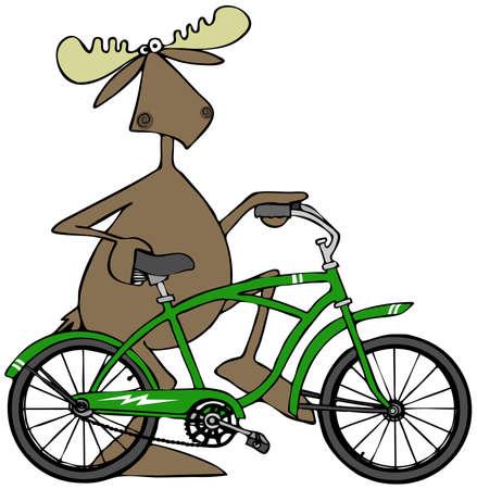 pedaling: Moose walking his bicycle