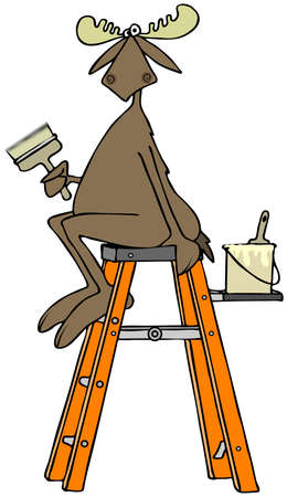 Moose sitting on a stepladder holding a paintbrush