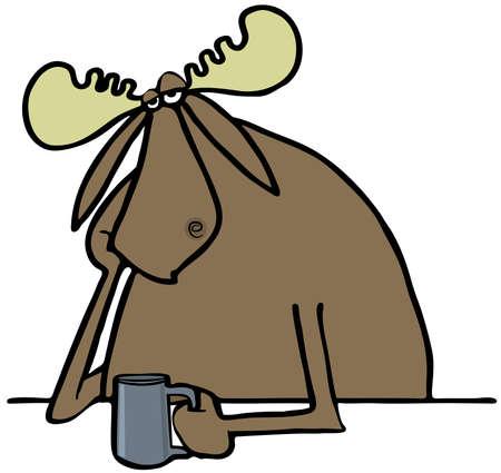 glum: Depressed moose drinking coffee
