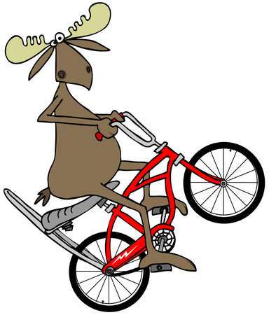 wheelie: Moose popping a wheelie on a bicycle Stock Photo