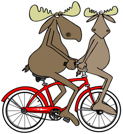 Two moose on a red bike Banco de Imagens