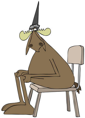 seated: Illustration depicting a bull moose sitting in a chair and wearing a dunce cap. Stock Photo