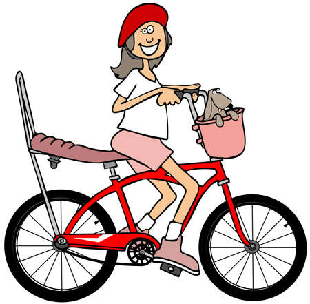 bicycle seat: Illustration of a small girl wearing a helmet while riding a red bicycle with a banana seat and extended handlebars. Stock Photo