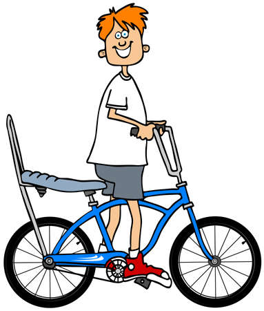 redheaded: Illustration of a red-headed boy riding a bicycle with a banana seat and extended handlebars.