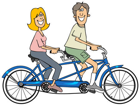 pedaling: Couple riding a blue tandem bicycle