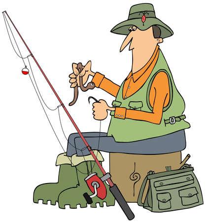 lombriz de tierra: Ilustración de un pescador sentado en un muñón y poner una gran lombriz en un anzuelo.