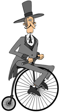 old fashioned: Gentleman riding an old fashioned bicycle Stock Photo