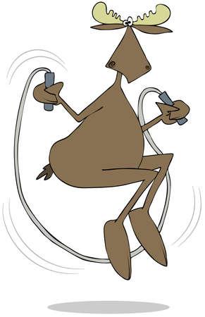 Moose jumping the rope Banco de Imagens