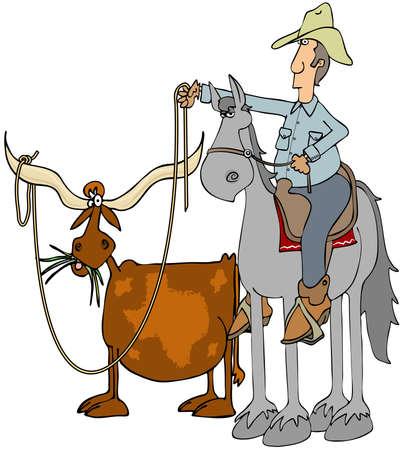 Cowboy roping a Texas longhorn