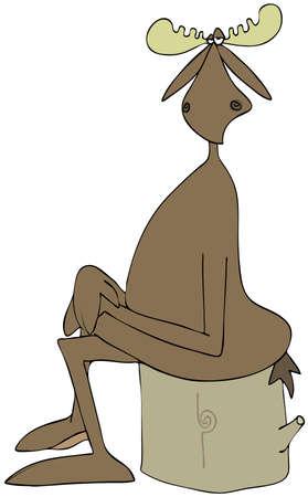 その足で切り株に座っているヘラジカのイラスト交差し、は彼の膝の上の手します。