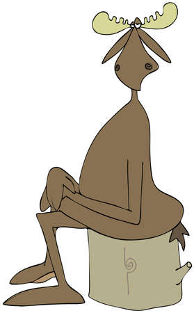 Illustration of a bull moose sitting on a stump with its legs crossed and hands on his knees. Stock Photo