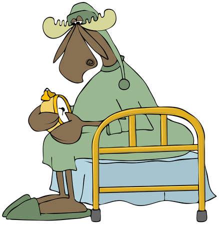 bed sheet: Moose setting his alarm clock Stock Photo