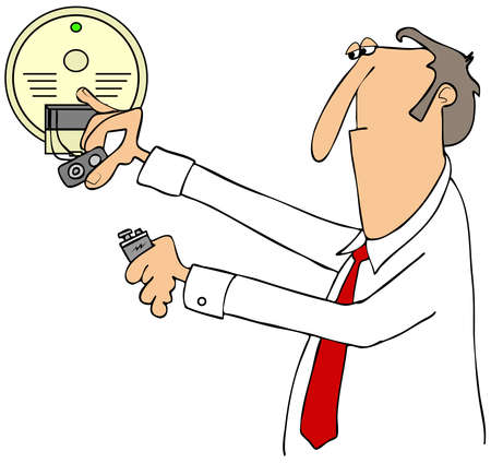 installing: Illustration of a businessman installing a 9 volt battery in a smoke detector.