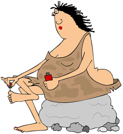 neanderthal women: Illustration of a chubby cave woman sitting on a rock and painting her toenails.