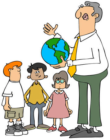 informing: Illustration of a male teacher holding a world globe and explaining it to his students. Stock Photo
