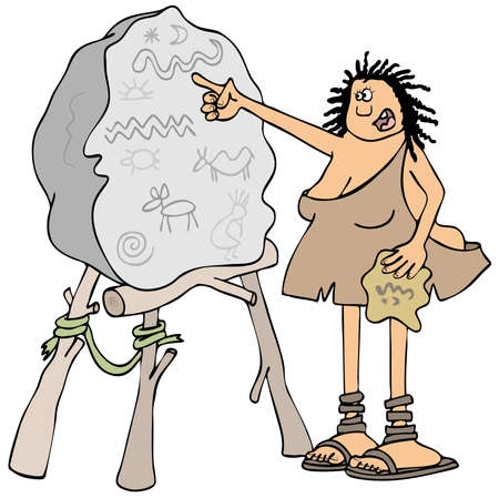 neanderthal women: Illustration of a cave woman pointing to petroglyphs scratched into a boulder blackboard.