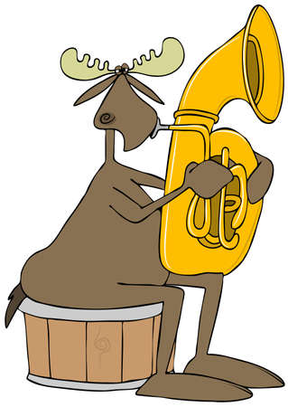 tuba: Illustration of a bull moose sitting on a half barrel and playing a brass tuba.
