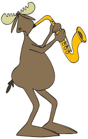 Moose playing saxophone