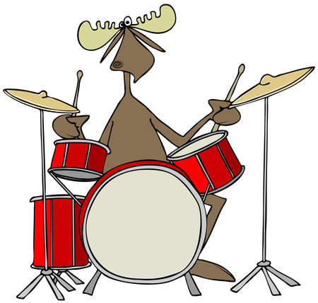 Illustration of a bull moose playing a drum set.