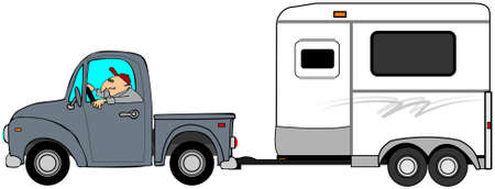 Illustration of a man driving a truck and towing a horse trailer.