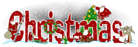 サンタとエルフ、クラウス夫人のトナカイとツリーのイラストと単語のクリスマスのイラストが散在しています。 写真素材