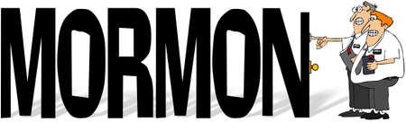 玄関の呼び鈴を鳴らす 2 つの LDS の宣教師とモルモン教徒の単語のイラスト。