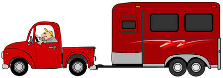 Illustration of a man driving a truck and towing a red horse trailer. Stock Photo