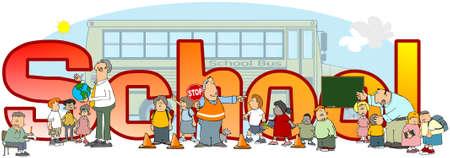Illustratie van de woordschool met afbeeldingen van bus, leraren en studenten.