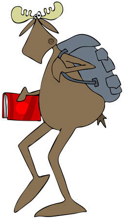Illustration of a student moose walking with a backpack and carrying a school book.