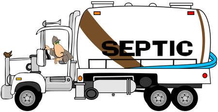 정화조 탱크 pumper 트럭을 백업하는 남자의 그림.