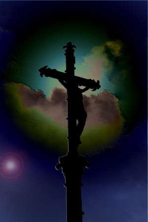 universal love: Crucifijo delante de un planeta  Foto de archivo