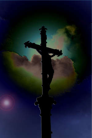 Crucifix in front of a planet photo
