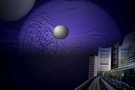 Futurista ciudad: masturbacion, la misma hora  Foto de archivo - 446715