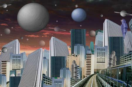 modernity: futuristic cityscape