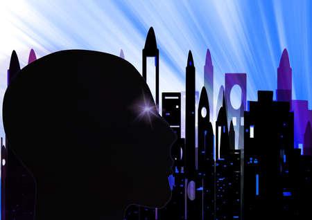 Humanoid staring at the city photo