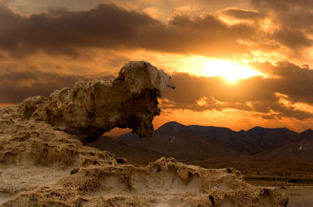 some geological rock and a nice sunset photo