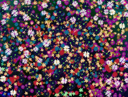 abstract background with different flowers