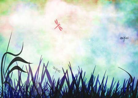 Grunge meadow Stock Photo