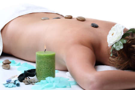 hot stone: hot stone therapy Stock Photo