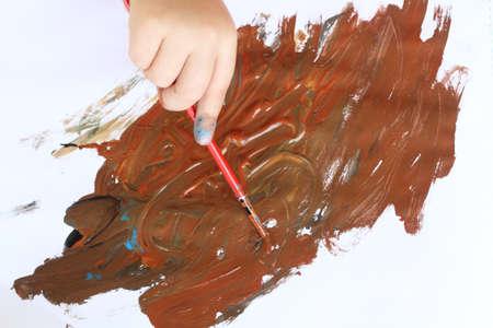 tempera: drawing hand Stock Photo