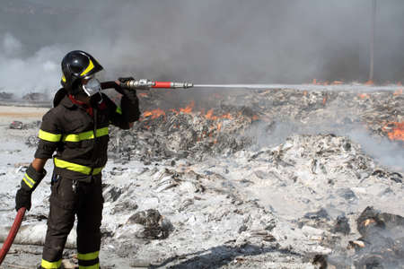 firefighter: Firefighter on duty Stock Photo