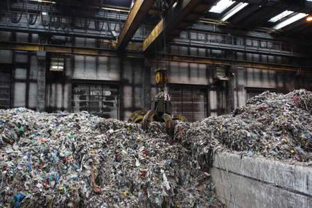 processing of municipal solid waste collected from the grip Stock Photo