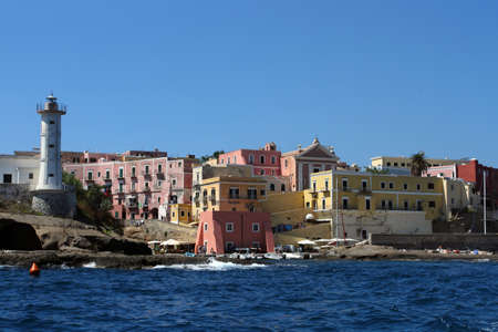 pontine: Ventotene Island seen from the sea Stock Photo
