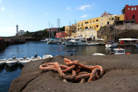 pontine: the port of Ventotene with houses and the lighthouse